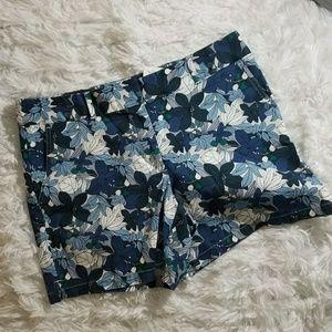 LOFT Blue Floral Print Riviera Shorts